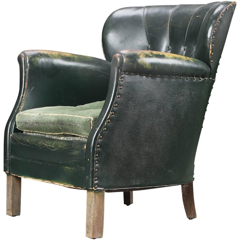 Danish 1930s Small Scale Club Chair In Tufted Patinated