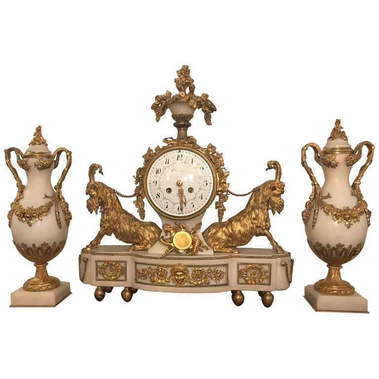 Elegant 18th Century French Ormolu Marble Clock and Garniture