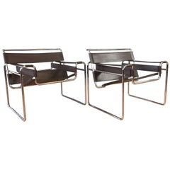 """Pair of Vintage Marcel Breuer """"Wassily"""" Chairs by Gavina for Knoll"""