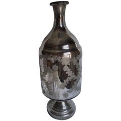 "Large Mercury Glass Jug, Heavy ""Antiqued"" Silver Mercury Glass Jar"