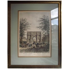 Hand Colored Engraving of the Arc De Constanic