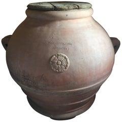 Big Terracotta Olive Oil Italian Jar, Tuscan Noble Family
