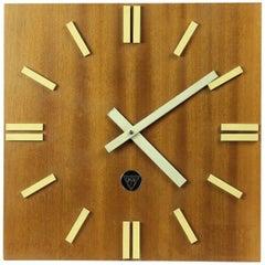 Large Wooden Pragotron Clock Type PPH 410, Czechoslovakia, circa 1980