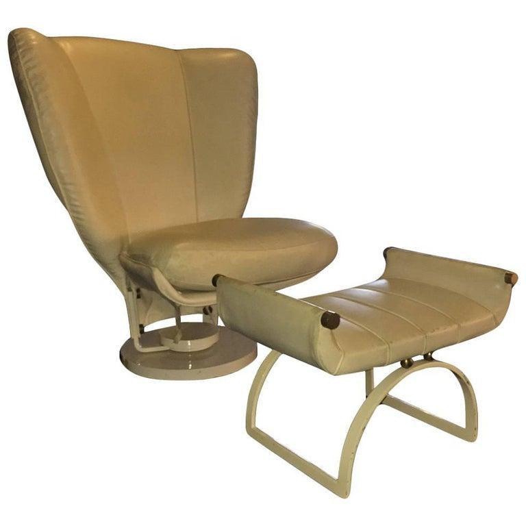 Beautiful Armchair with Pouf, Design Marzio Cecchi, 1980 For Sale