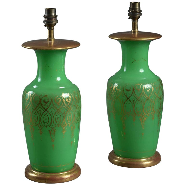 Pair of 19th Century Green Opaline Glass Vase Lamps