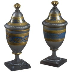 Pair of Early 19th Century Glass Lidded Vases