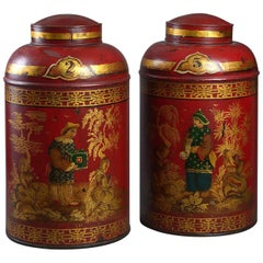 Rare Pair of Early 19th Century Regency Red Lacquer Toleware Tea Canisters