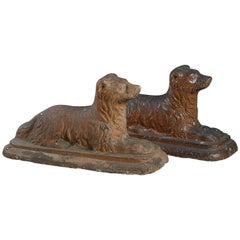Pair of Mid-19th Century Scottish Salt-glazed Pottery Dogs