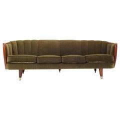 Norwegian Green Fabric Velour and Teak Four-Seat Sofa Midcentury, 1950s
