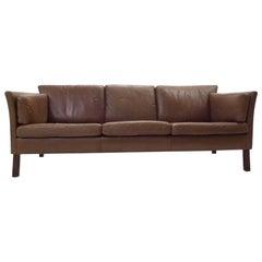 Danish Olive Brown Leather Three-Seat Sofa Mid-Century, 1960s