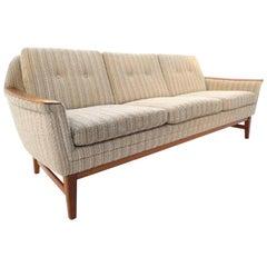 Scandinavian Cream Wool Buttoned Teak Three-Seat Sofa Midcentury, 1970s