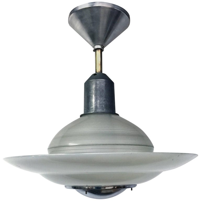 Vintage French Industrial Ceiling Light From Holophane At