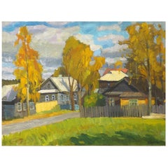 'Autumn in the Village' by Russian Vladimir School Artist Natalia Britova