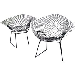 Pair of Early Harry Bertoia for Knoll Black Wire Diamond Chairs
