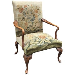 Queen Anne Armchair in Carved Wood and Tapestry, Beginning of 20th Century
