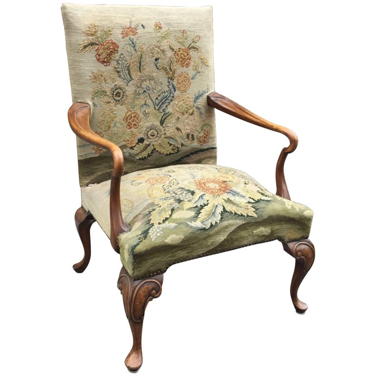 Queen Anne Armchair In Carved Wood And