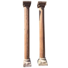 Monumental Solid Wood Carved Columns with Stone Bases