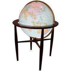 Modernist Replogle Illuminated World Globe on Walnut Stand, circa 1960s