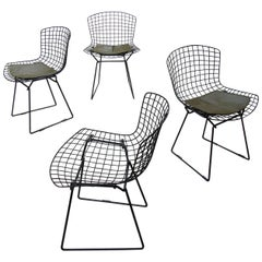 Set of Four Early Harry Bertoia for Knoll Black Wire Dining or Side Chairs