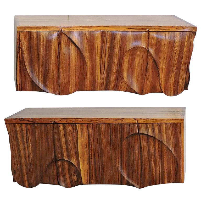 American Studio Phillip Powell Style Mid Century Modern Zebra Wood Cabinets At 1stdibs