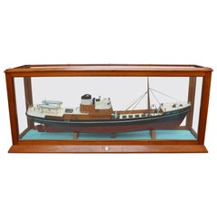 Fantastic Model Ship in Wood and Glass Display 'Gourock', circa 1960