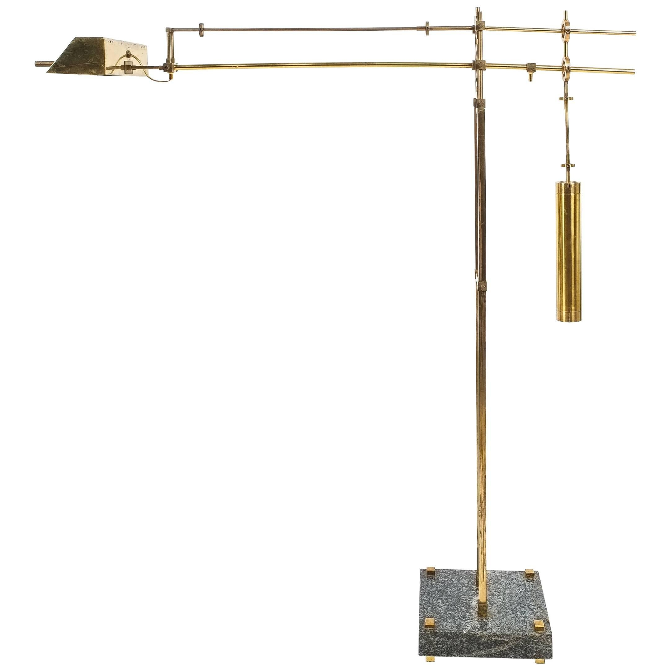 Iron Counterweight Floor Lamp with Brass Base and Weight For Sale ...