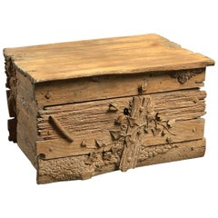 19th Century Black Forest Casket or Box Carved as a Rustic Crate with Insects
