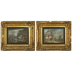 Pair of Early 18th Century Watercolors Attributed to Jan Wyck