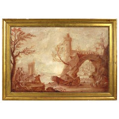 Mid-18th Century Oil on Canvas Capriccio View by De Lautherbourg