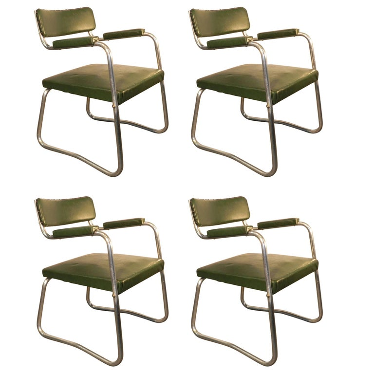 Set of Four Modernist Art Deco Armchairs, circa 1930