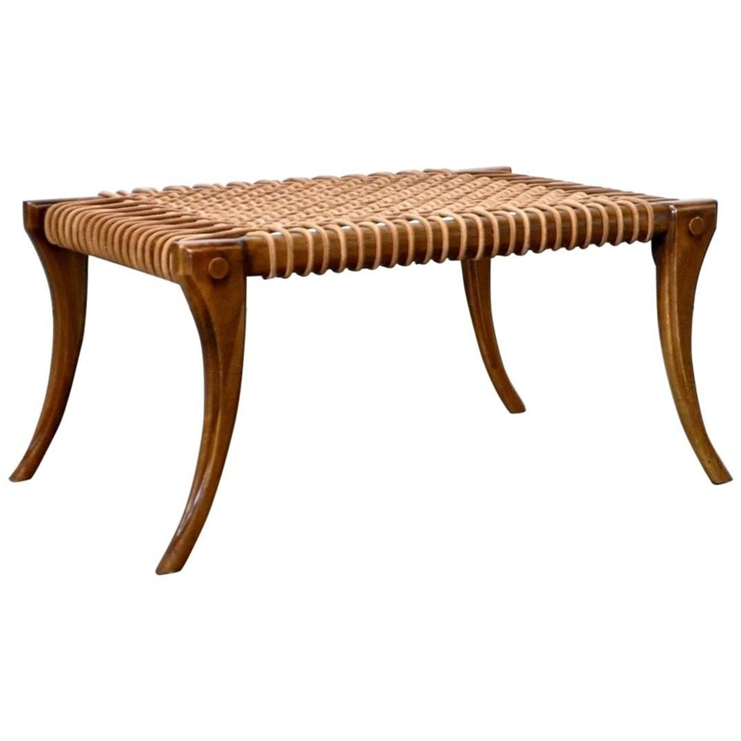 Klismos Bench or Coffee Table with Rope Seat circa 1960s For Sale