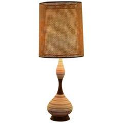 Italian Hourglass Ceramic and Walnut Table Lamp