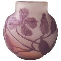 Emile Galle Art Nouveau Clematis Cameo Vase