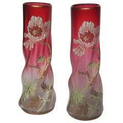 Late Victorian Legras Pair Vases