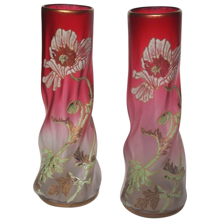 Late Victorian Legras Pair Vases For Sale