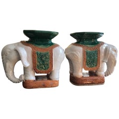 Pair of Italian Ceramic Elephant Garden Stools or Drinks Tables