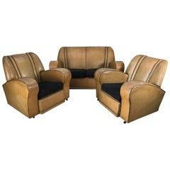 Three-Piece European Art Deco Suite, Matching Sofa and Club Chairs