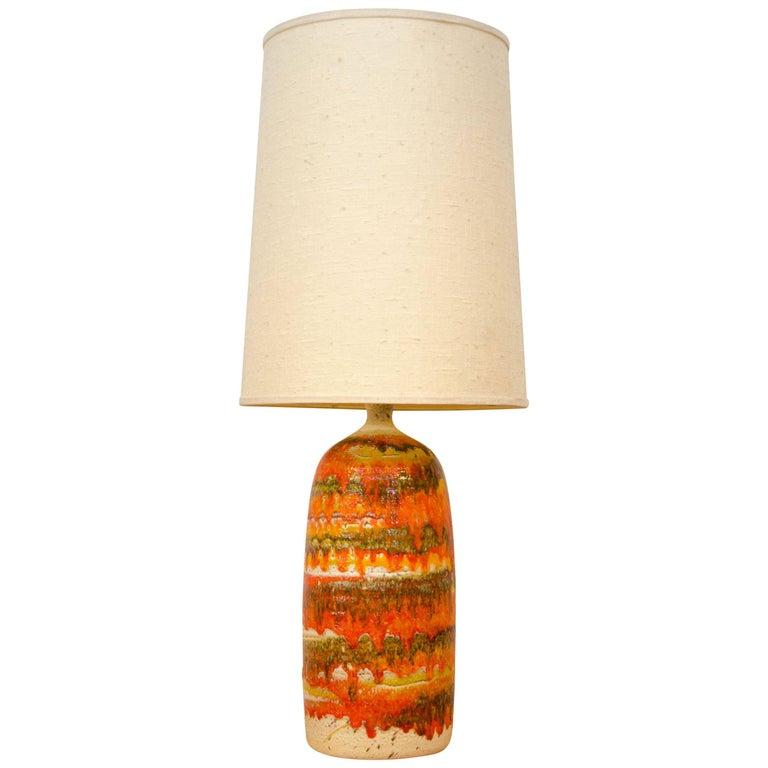 Colorful Drip Glaze Studio Pottery Table Lamp, Original Shade