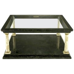 Maitland-Smith Empire Revival Black Marble and Fossil Stone Coffee Table