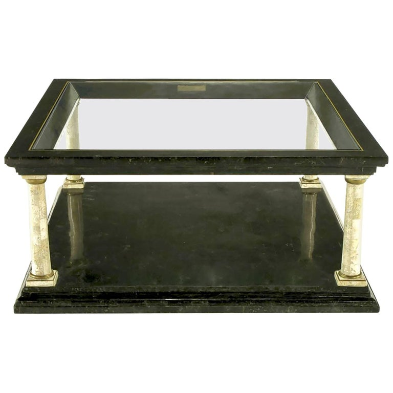Maitland-Smith Empire Revival Black Marble and Fossil Stone Coffee Table For Sale