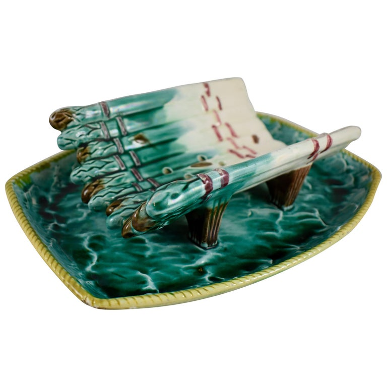 19th Century English Majolica Ocean Themed Asparagus Cradle with Attached Tray
