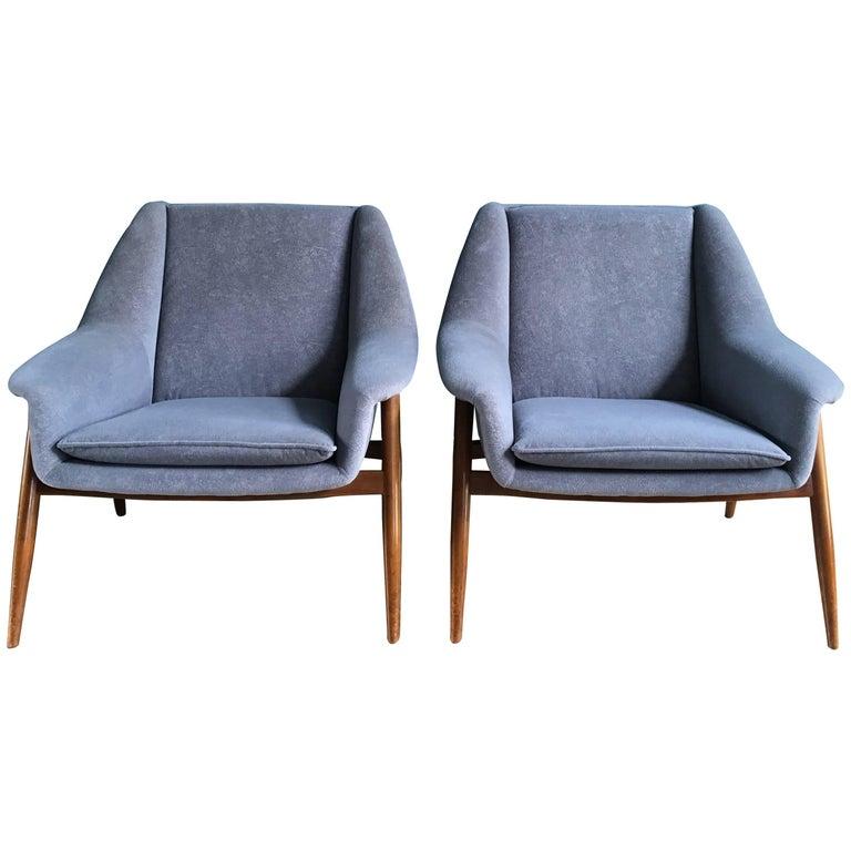 Pair of Vintage Mid-Century Teak Lounge Chairs, 1960s