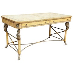 Neoclassical Desk Leather and Wrought Iron by Maitland Smith