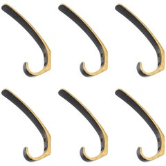 Six Coat Wall Hooks Brass by Hertha Baller, Carl Auböck Style, Austria, 1950s