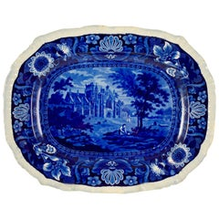 Ralph Stevenson English Staffordshire Blue Transferware Melrose Abbey Platter