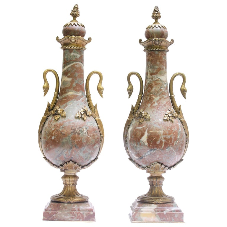 Pair of 19th Century French Empire-Style Marble Urns