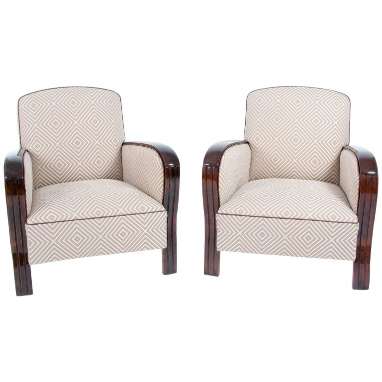 Pair of French Art Deco Club Chairs, France, around 1940