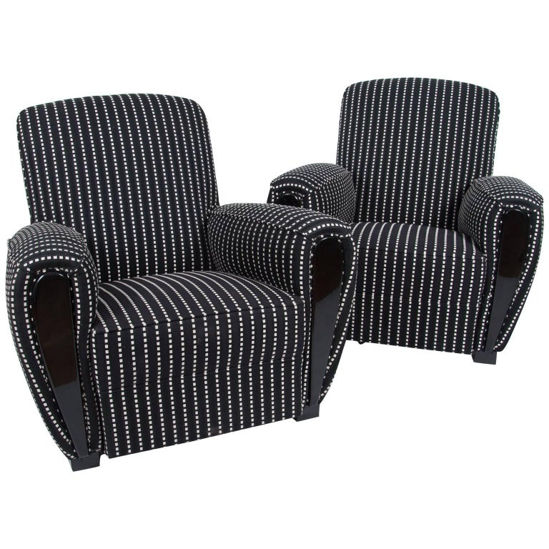 Pair of French Art Deco Club Chairs, France, circa 1950