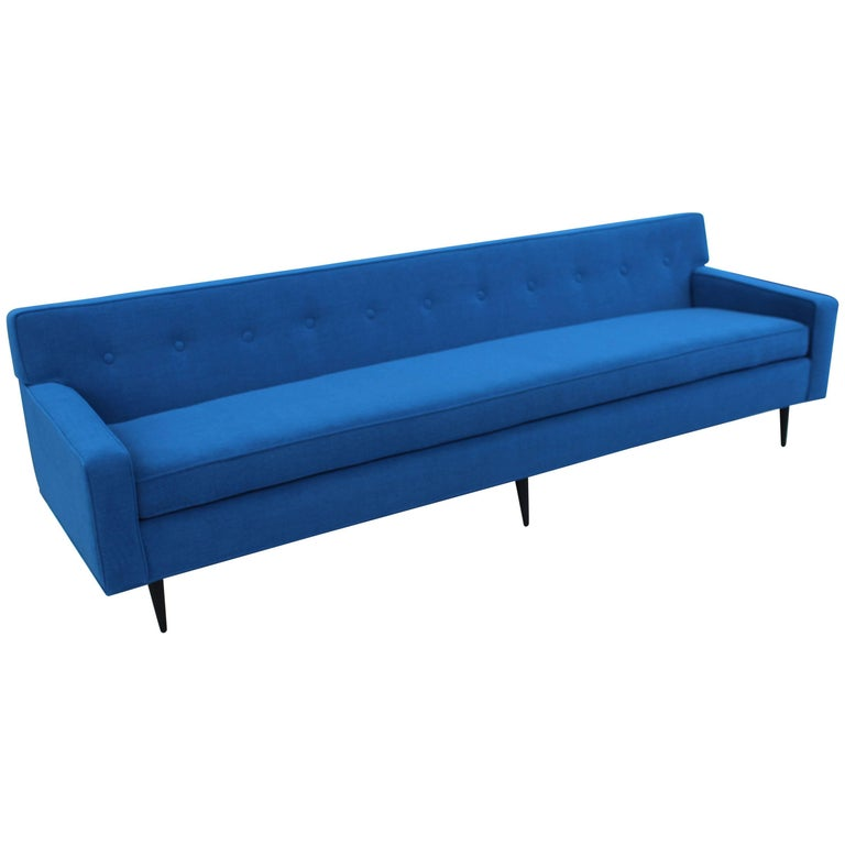 Mid century modern long blue sofa for sale at 1stdibs for Long couches for sale