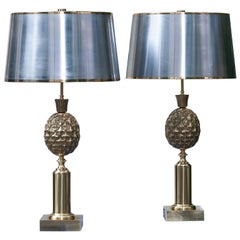 Golden Pineapple Table Lamp Attributed to Maison Charles, Set of Two